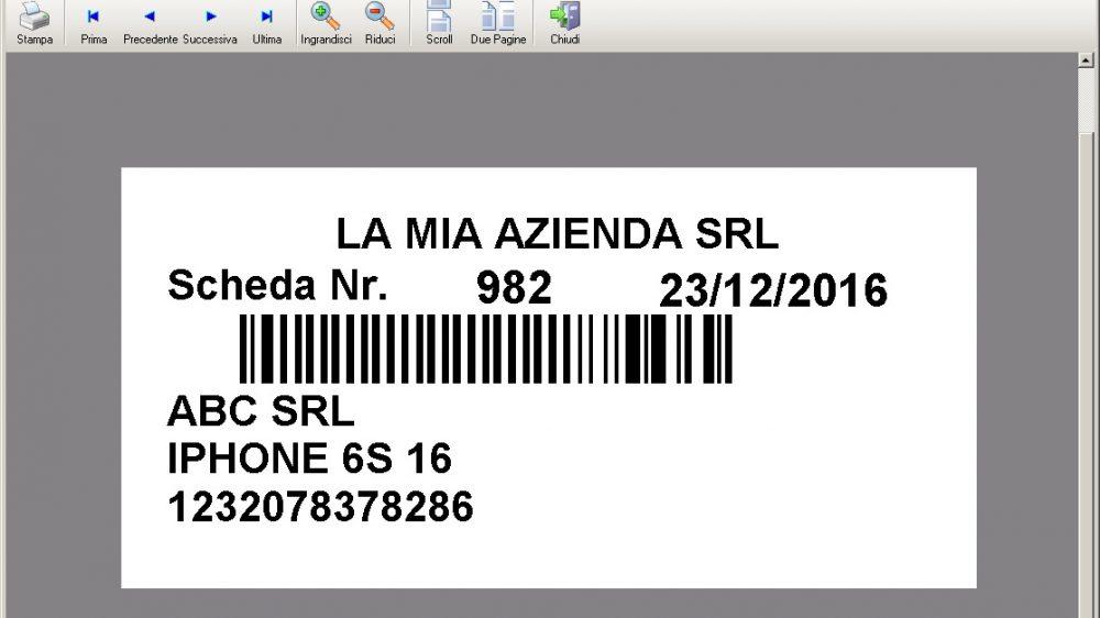 Stampa etichetta con barcode